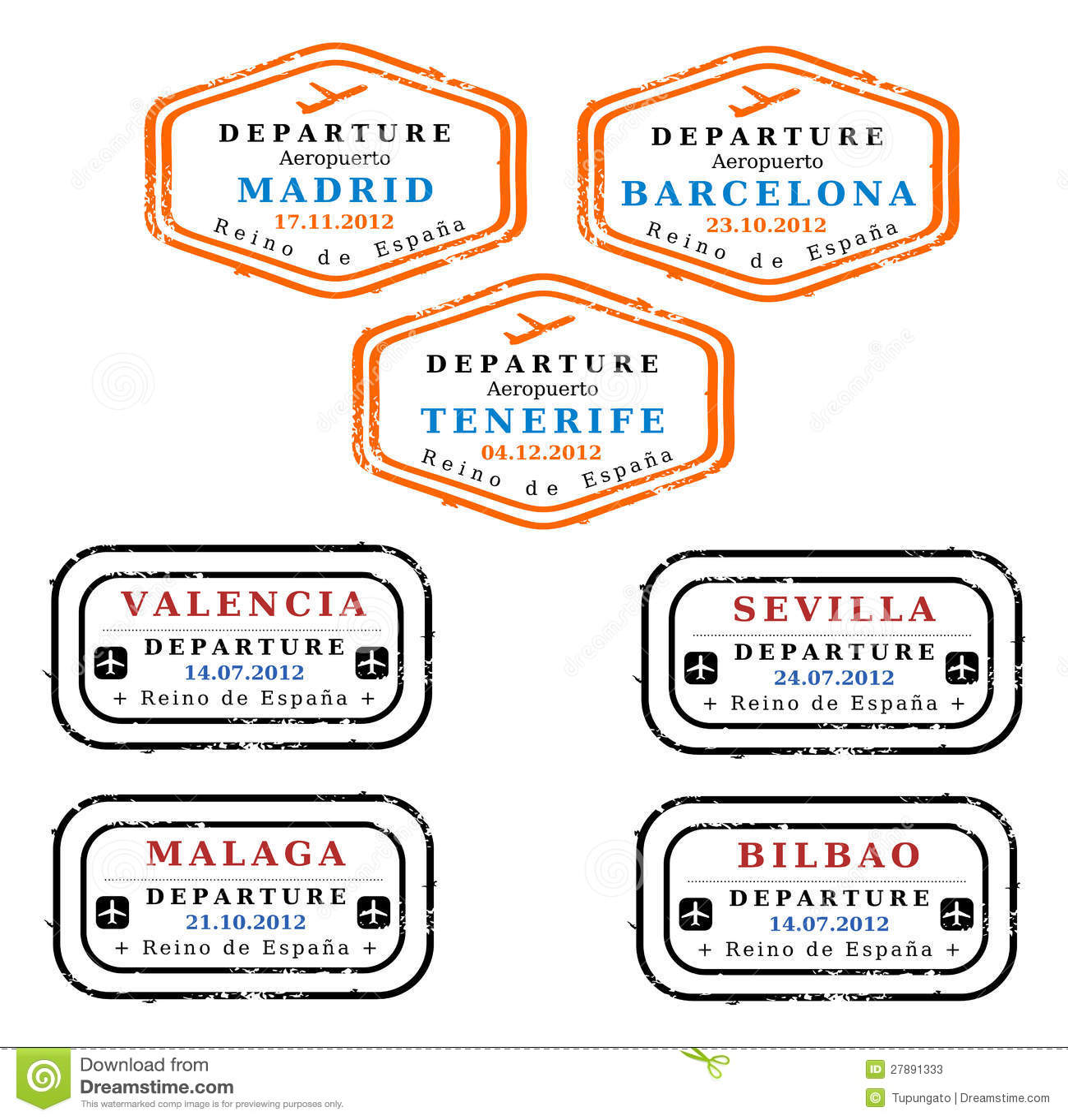 Spain Visa Stamps Stock Illustration Of Bilbao