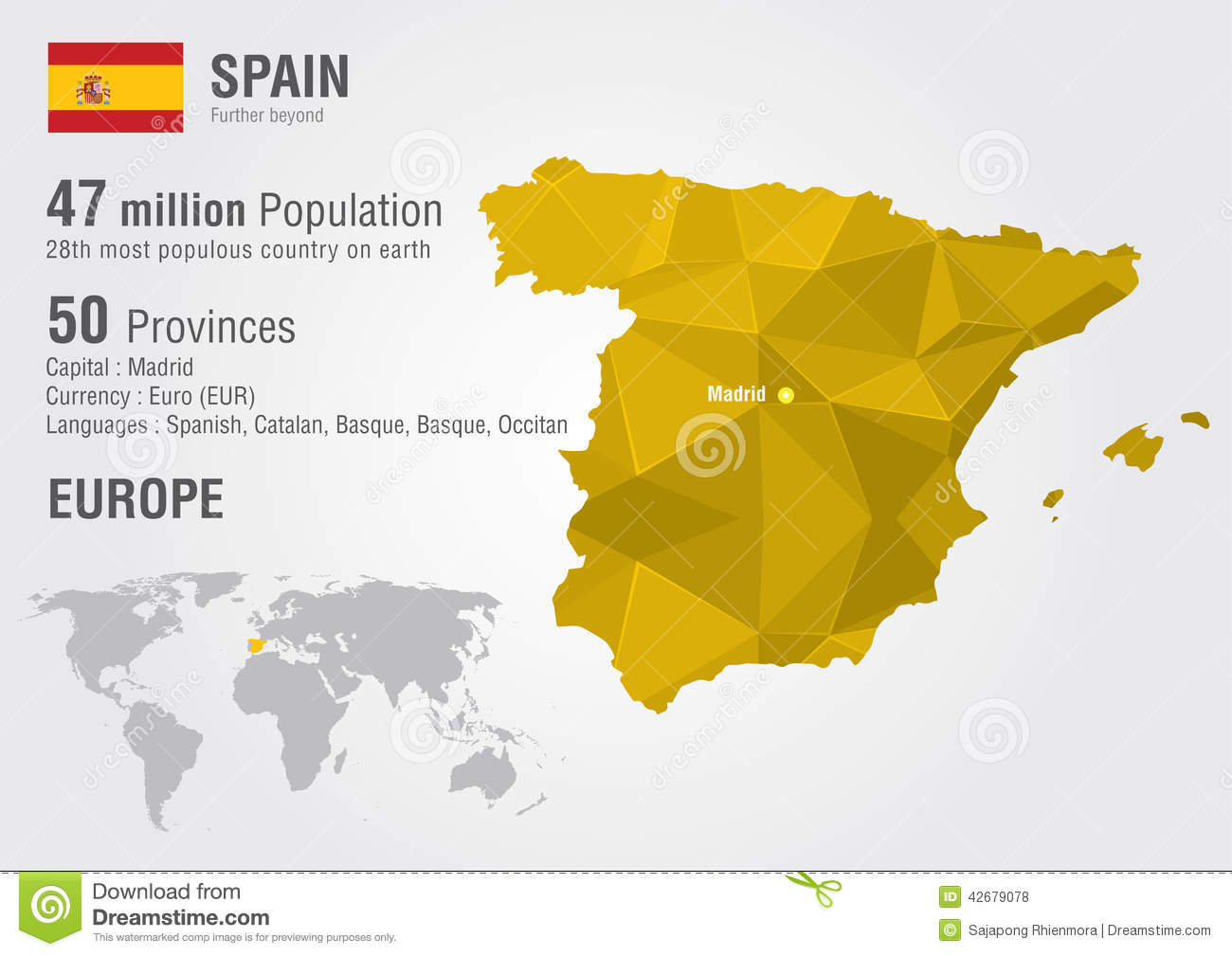 Languages In Spain Map.Spain World Map With A Pixel Diamond Texture Stock Vector
