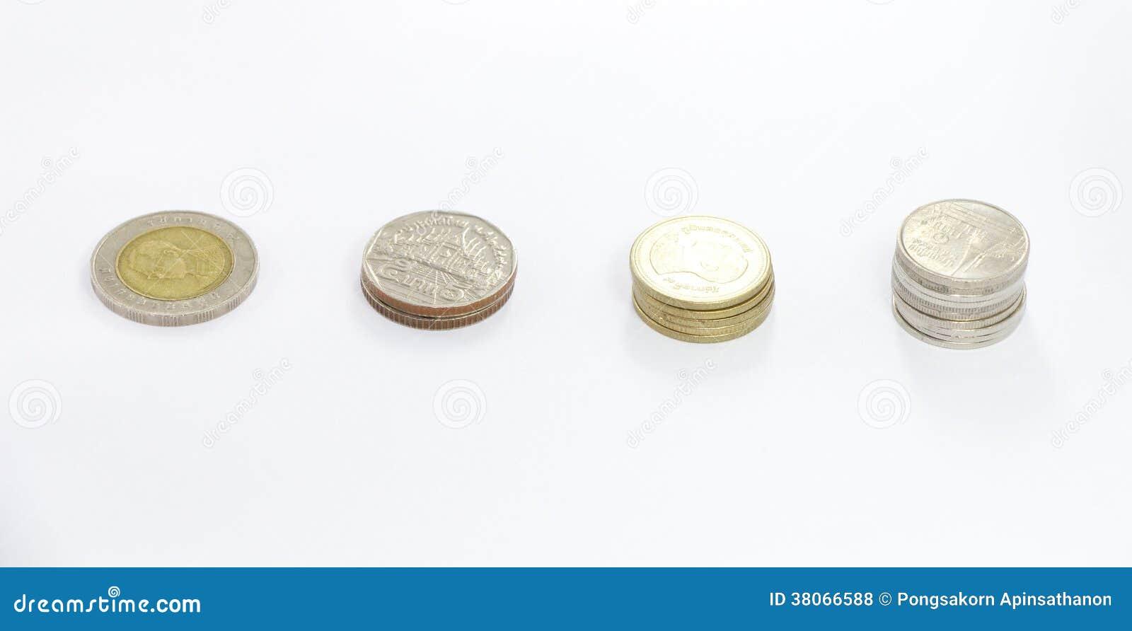 Spalte Der Münze Des Thailändischen Baht In Einem 10 Baht Wert