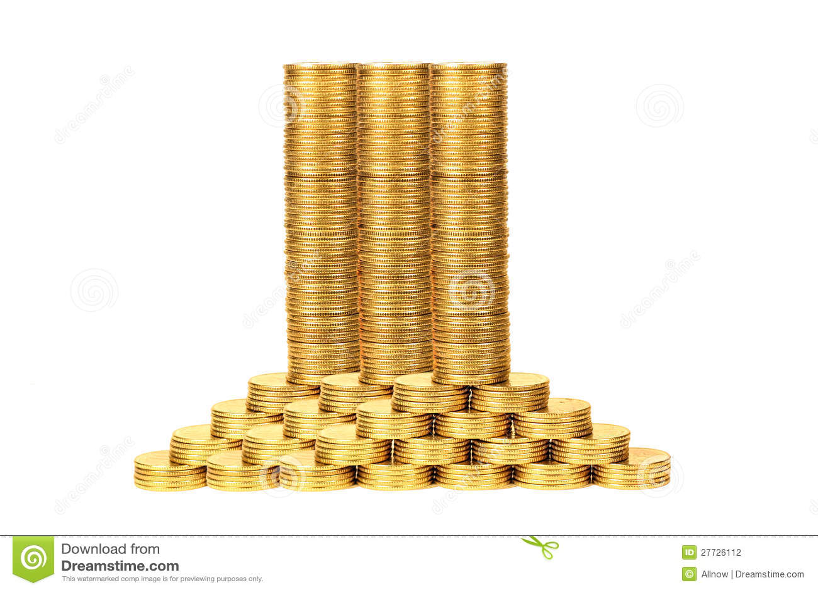 Spalten der Münzen von gelbem metal2