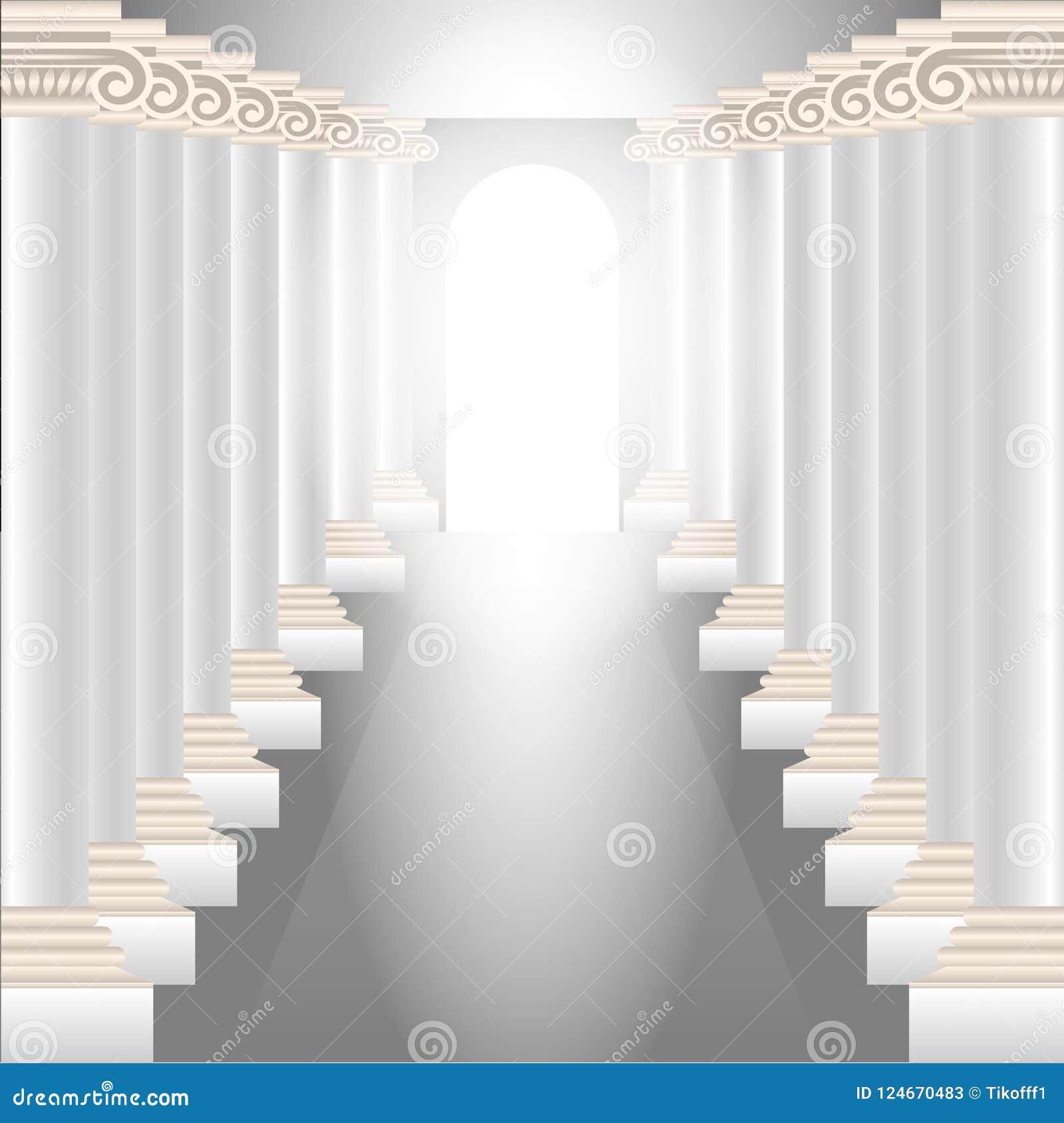 Spaltenhalle Herrlicher Korridor mit Spalten und einem glühenden himmlischen Licht am Ende