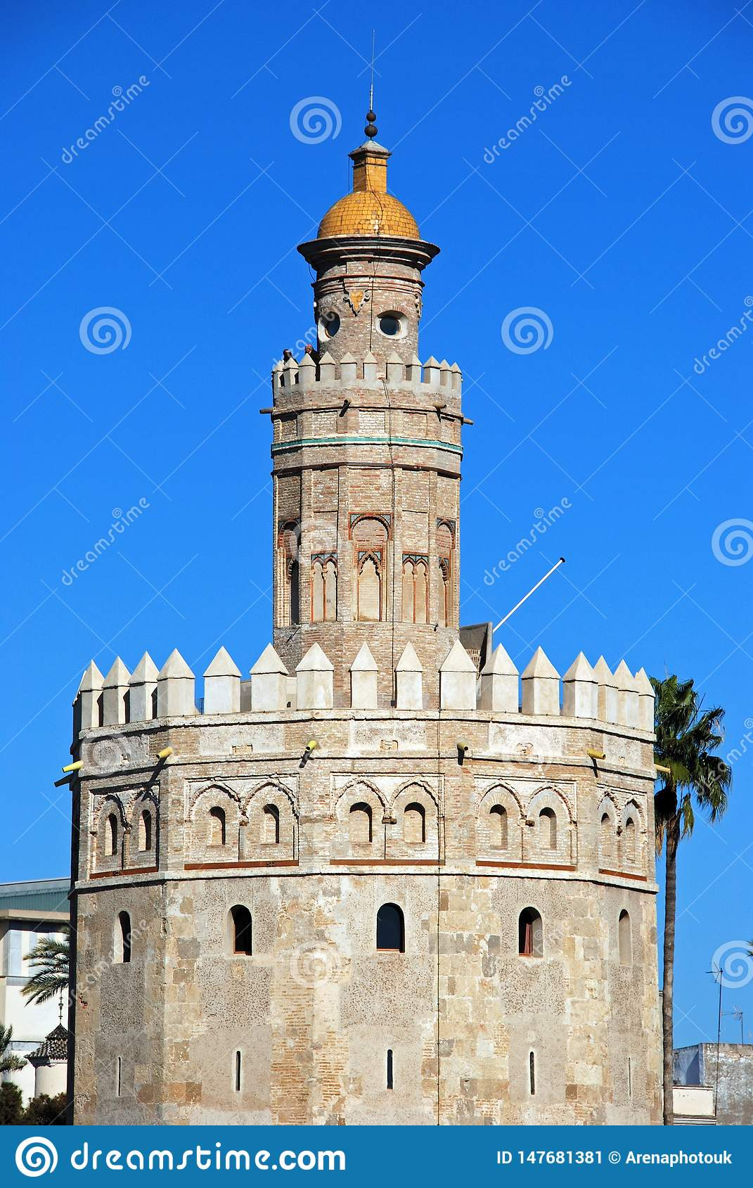 Top of the Torre del Oro, Seville, Spain.