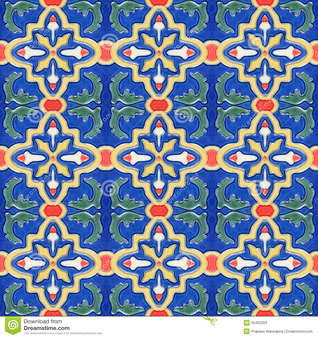 Spanich Moroccan Style Vintage Ceramic Tile Stock Image - Image of ...