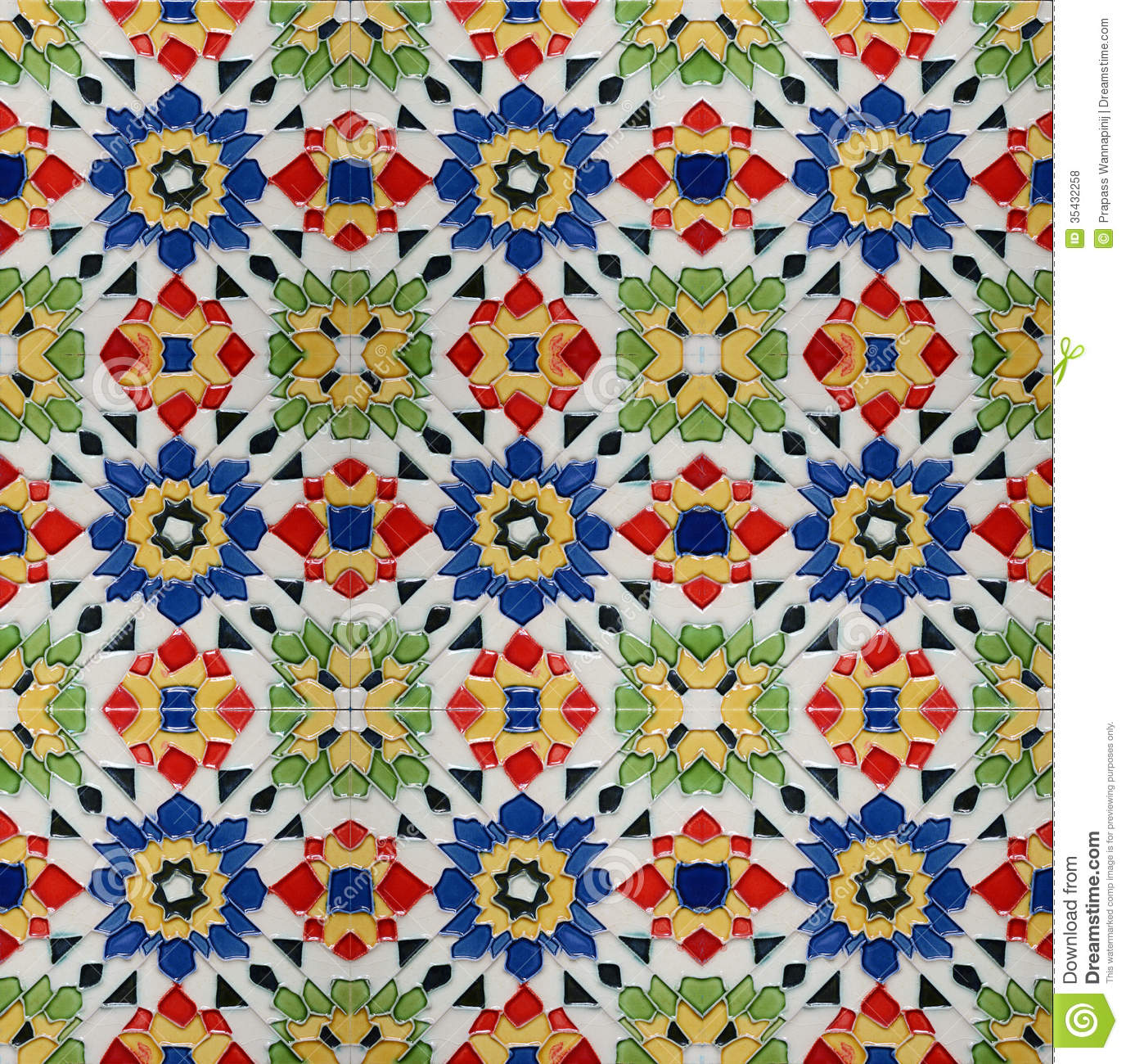 Spanich Moroccan Style Vintage Ceramic Tile Stock Photo - Image of ...