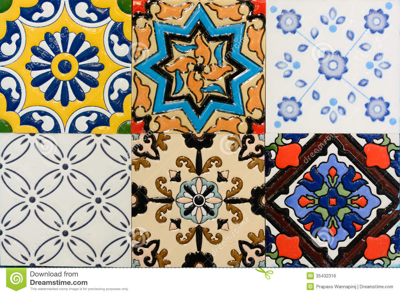 Spanich Moroccan Style Vintage Ceramic Tile Royalty Free