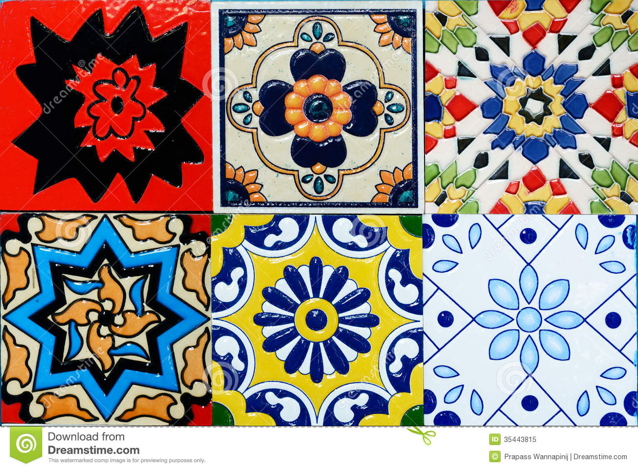 Spanich moroccan style vintage ceramic tile royalty free stock photo