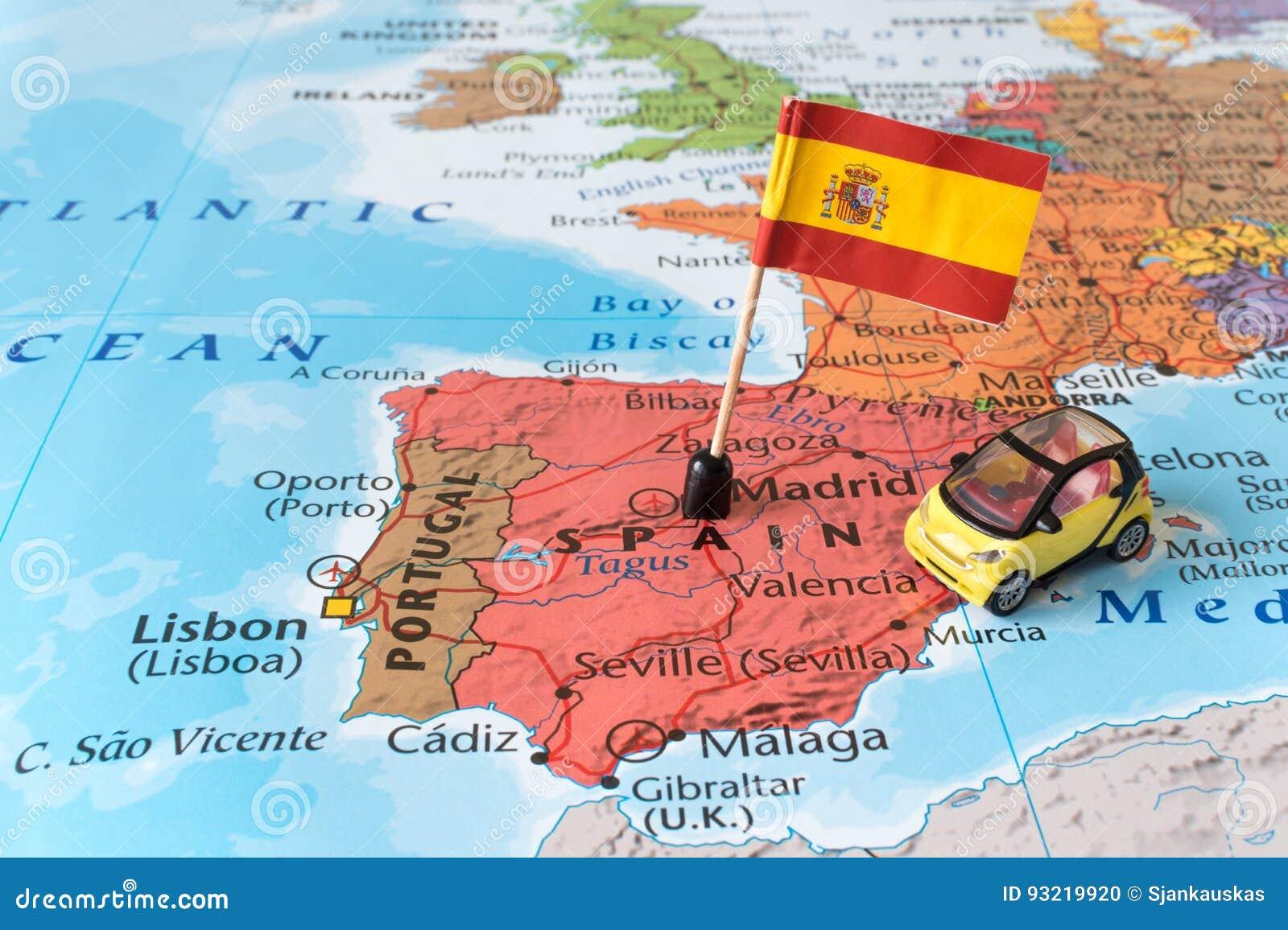 Spanien översikt, flagga och bil, loppbegrepp