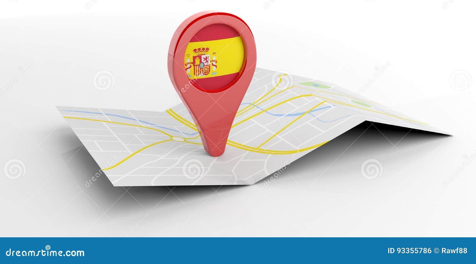 Spanien översiktspekare på vit bakgrund illustration 3d