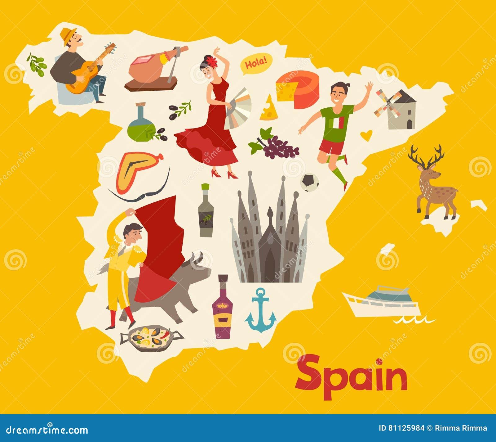 Paella on white vector stock vector image 68986544 - Spanien Versiktsvektor Illustrerad Versikt F R Barn Tecknad Filmkartbok Av Spanien Med Flamenco Arkivbilder