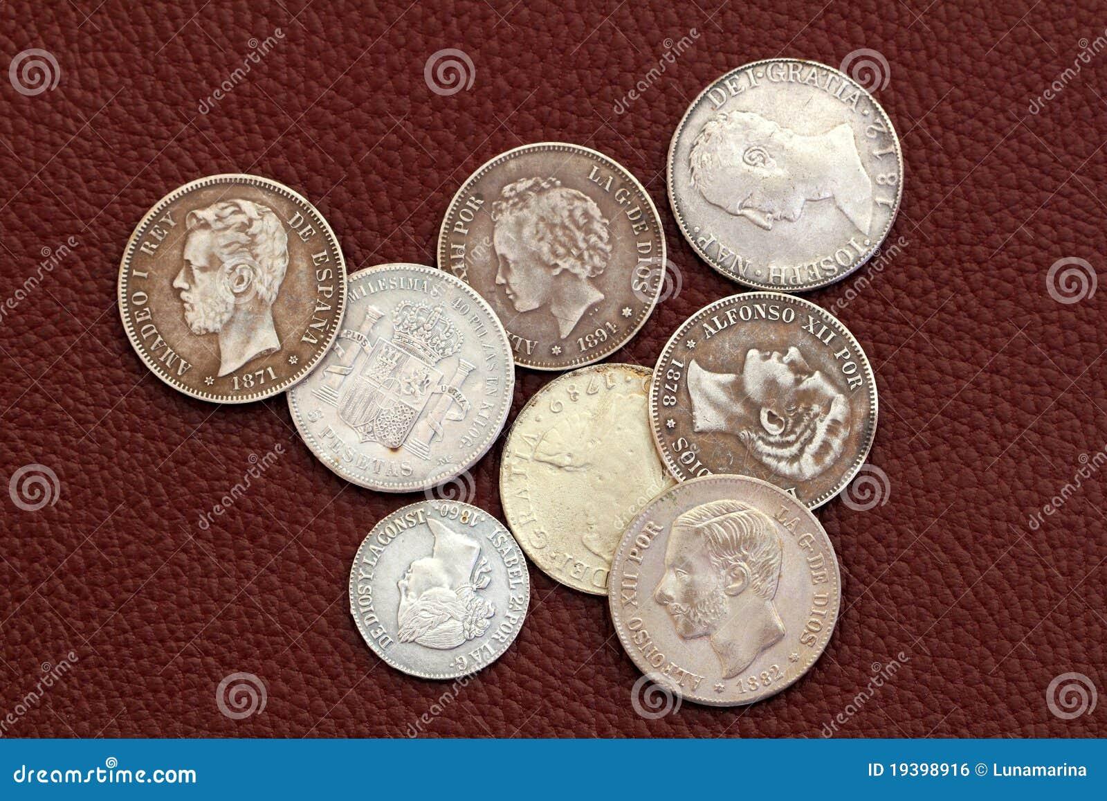Spanien Alte Münzen Des Achtzehnten Und 19 Jahrhunderts Stockfoto