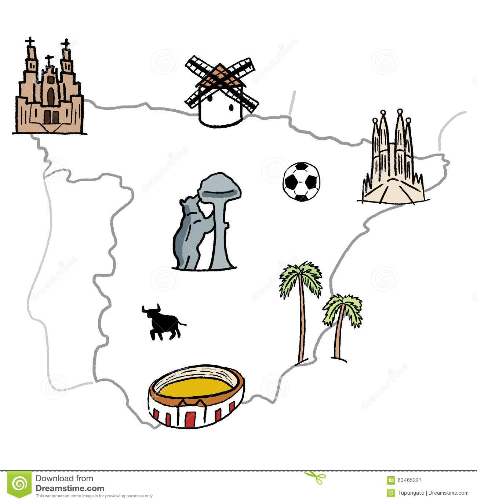 Spanien Karte Küsten.Spanien Karte Vektor Abbildung Illustration Von Küste 63465327