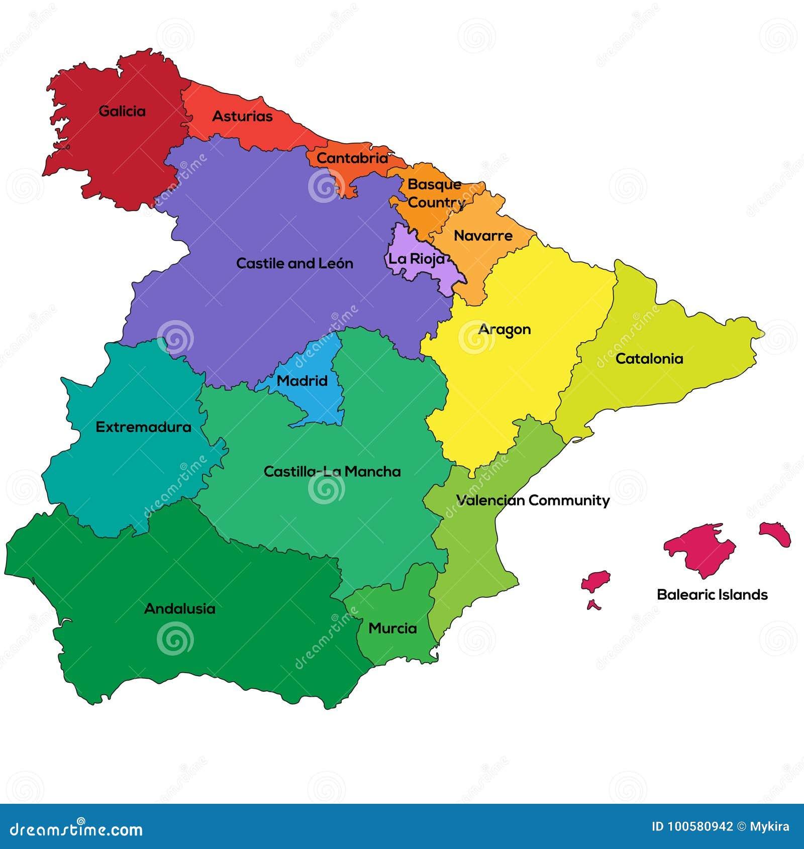 Spanien Regionen Auch Im Corel Abgehobenen Betrag Vektor Abbildung Illustration Von Corel Spanien 100580942