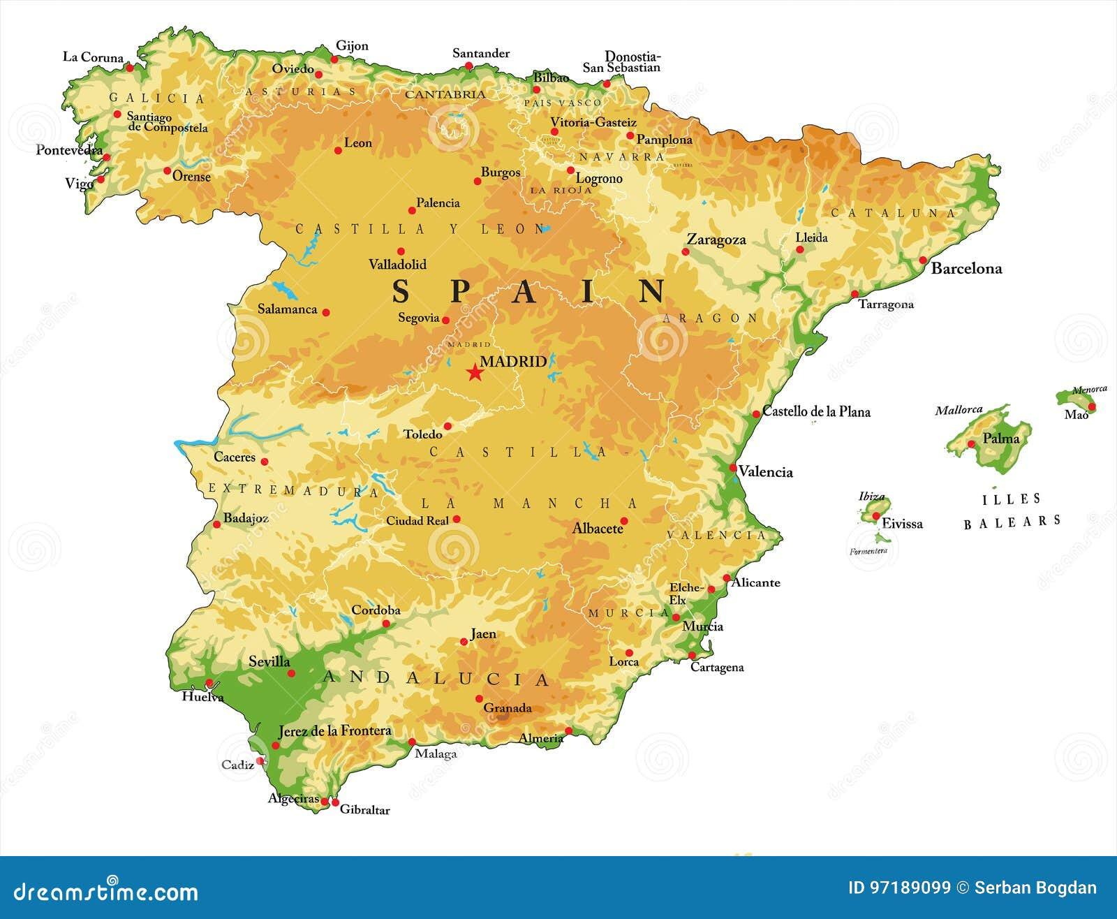 Spanien Regionen Karte.Spanien Reliefkarte Vektor Abbildung Illustration Von Spanien