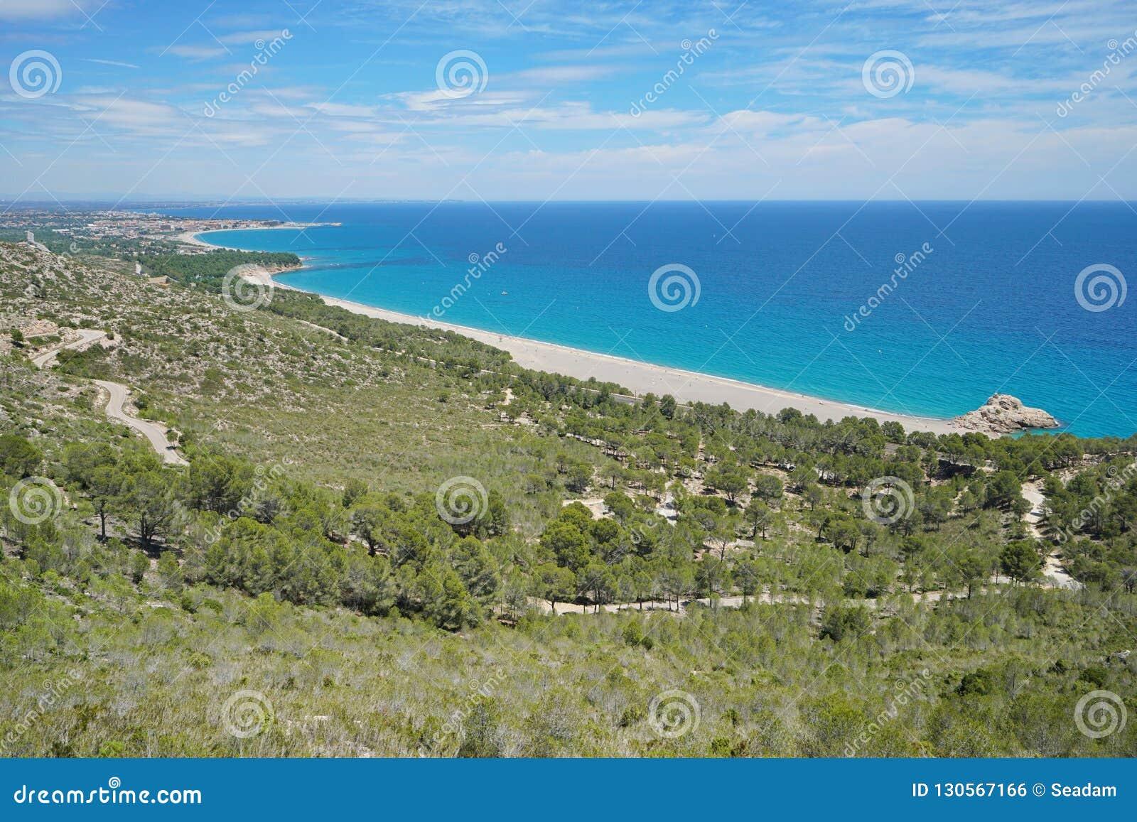 Spanien-Standpunkt, der die Küste Costa Dorada übersieht