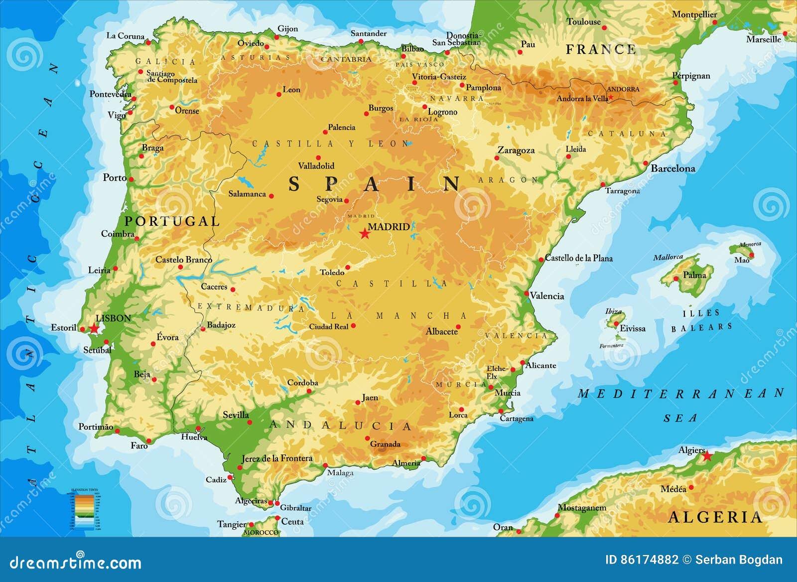 Spanien Regionen Karte.Spanien Systemtestkarte Vektor Abbildung Illustration Von