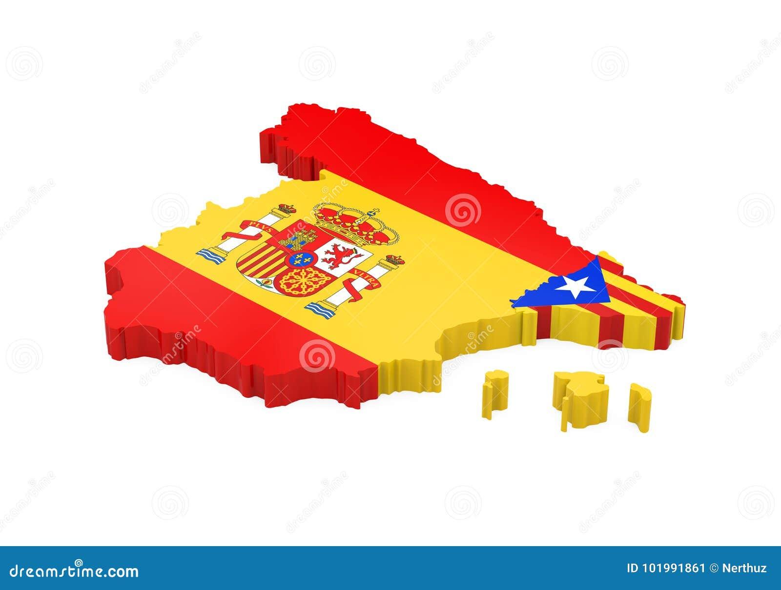 Spanien Katalonien Karte.Spanien Und Katalonien Karte Lokalisiert Stock Abbildung