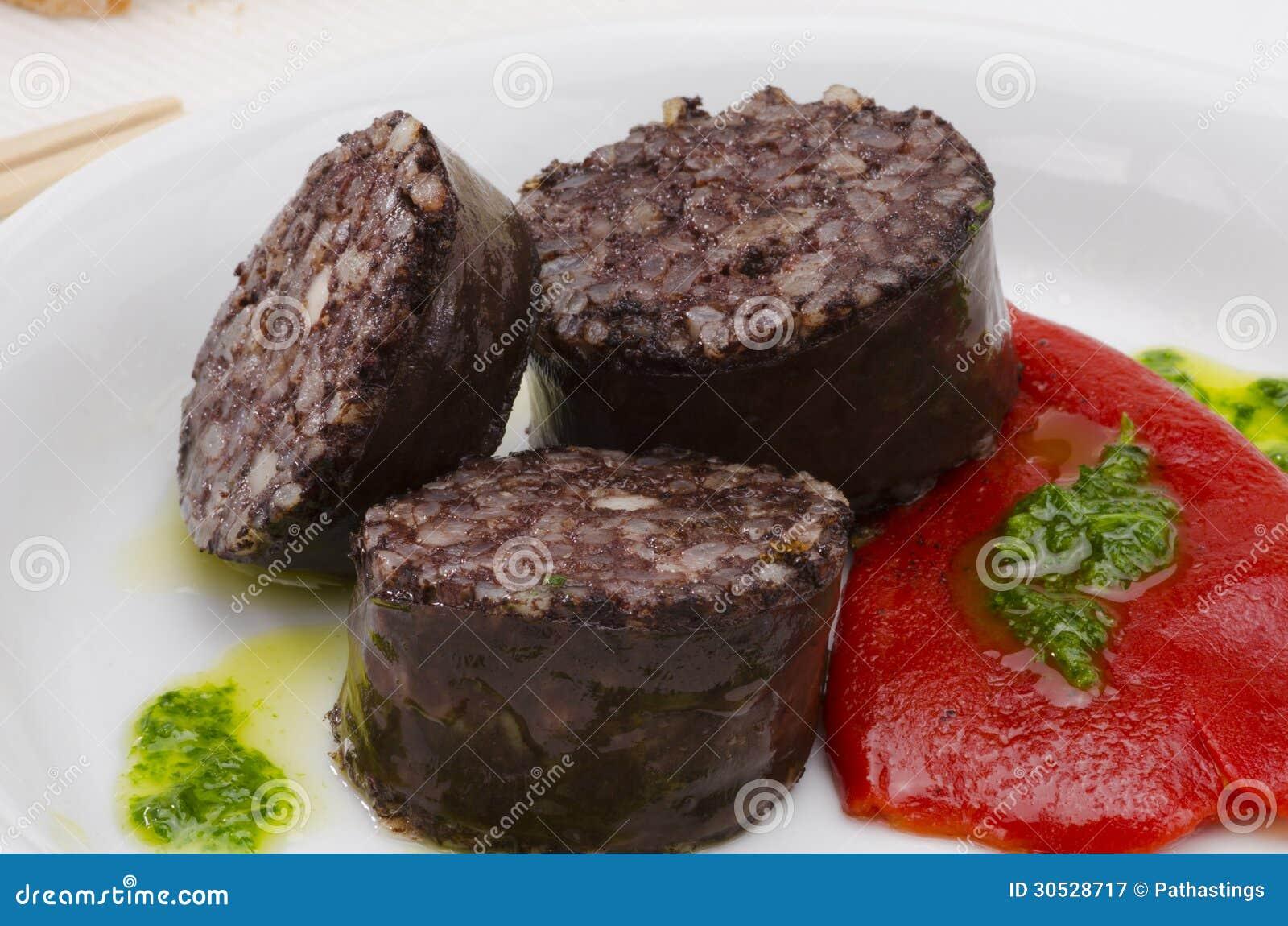 Spanische Küche. Morcilla De Burgos. Blutwurst. Stockbild - Bild von ...