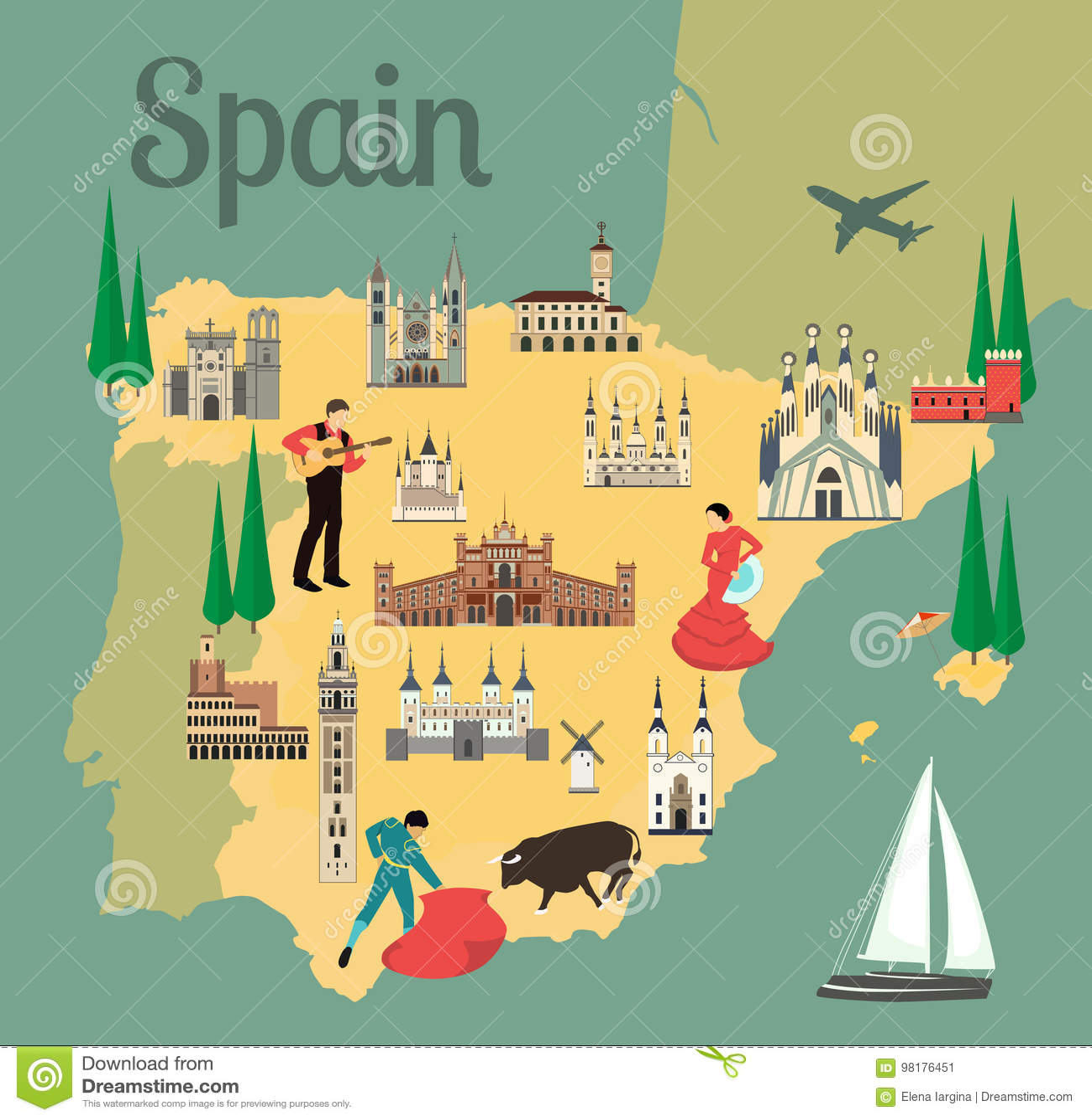 Spanische Karte.Spanische Karte Vektor Abbildung Illustration Von Flach