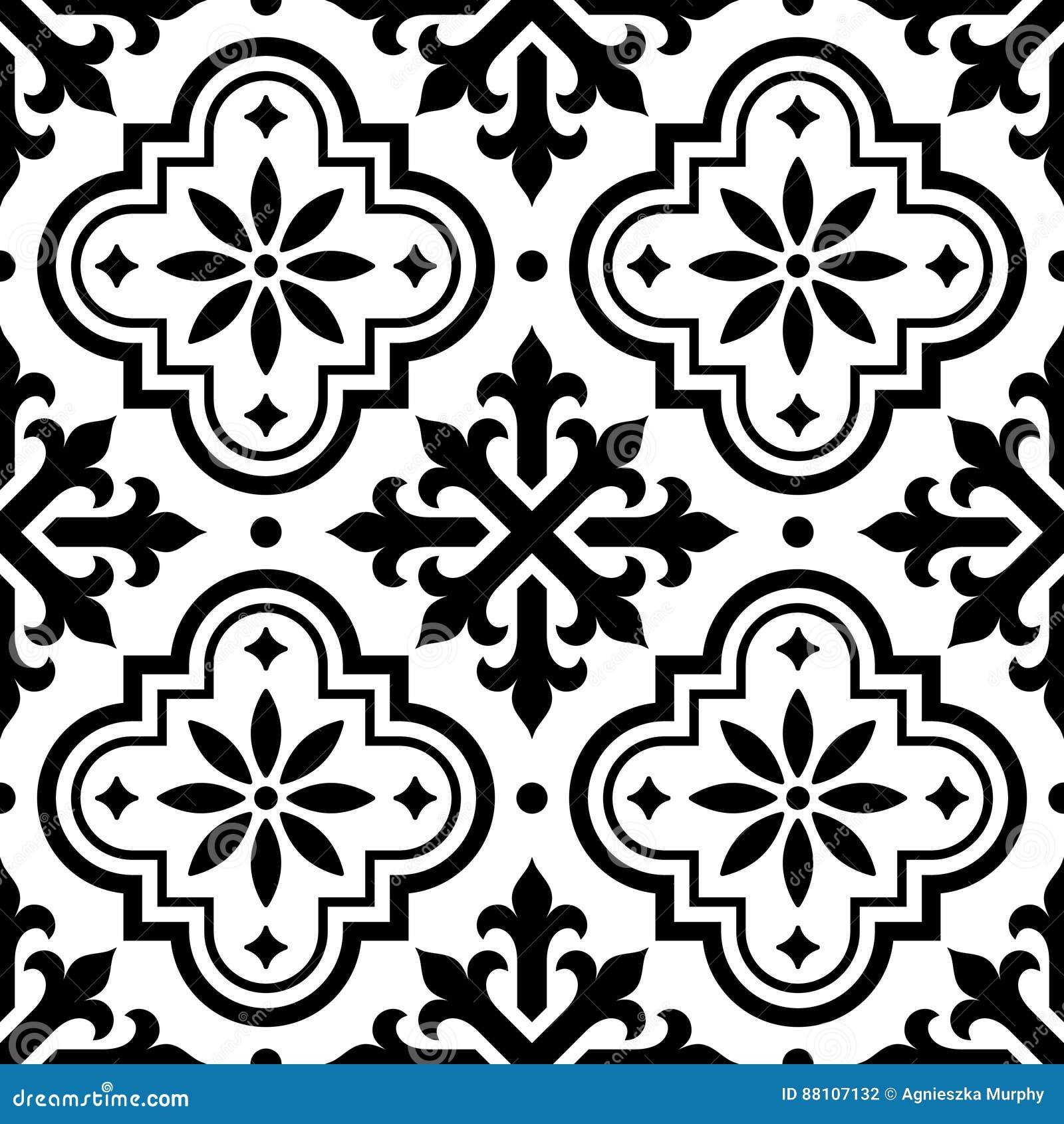 Download Spanisches Fliesenmuster, Marokkanische Fliesen Entwerfen,  Nahtloser Schwarzweiss Hintergrund   Azulejo Stock Abbildung