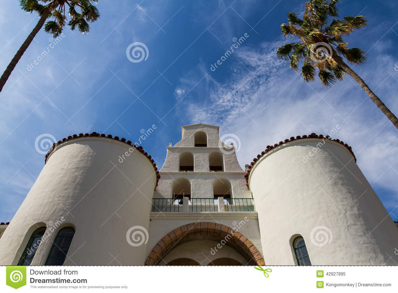California mission style architecture - Royalty Free Stock Photo