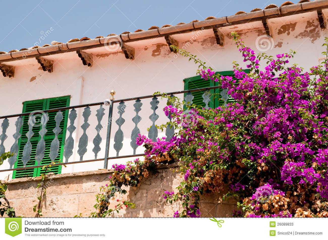 Spanish balcony with flowers stock image image 26089833 for Balcony in spanish