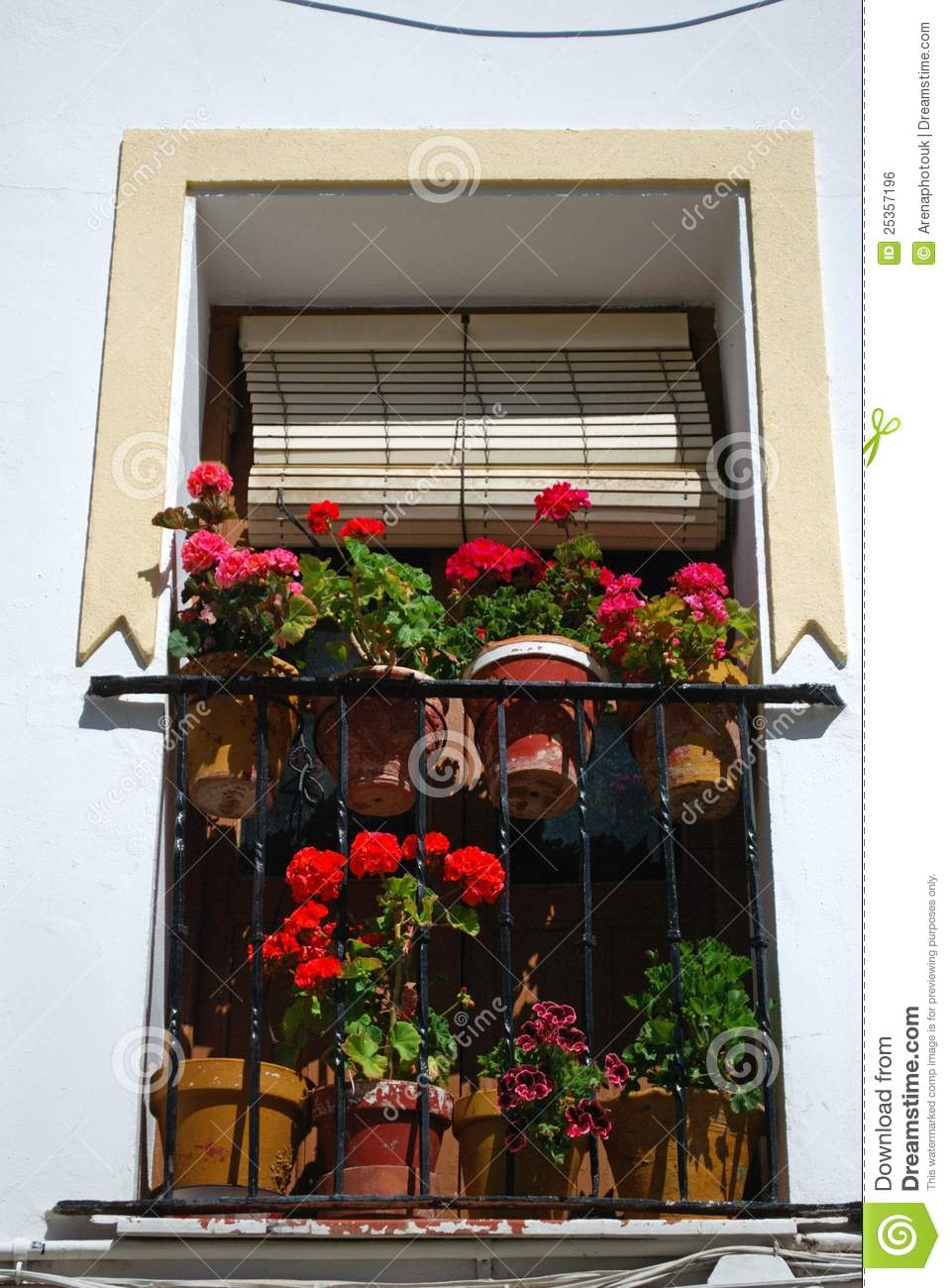 Spanish balcony with flowers ronda spain stock photo for Balcony in spanish