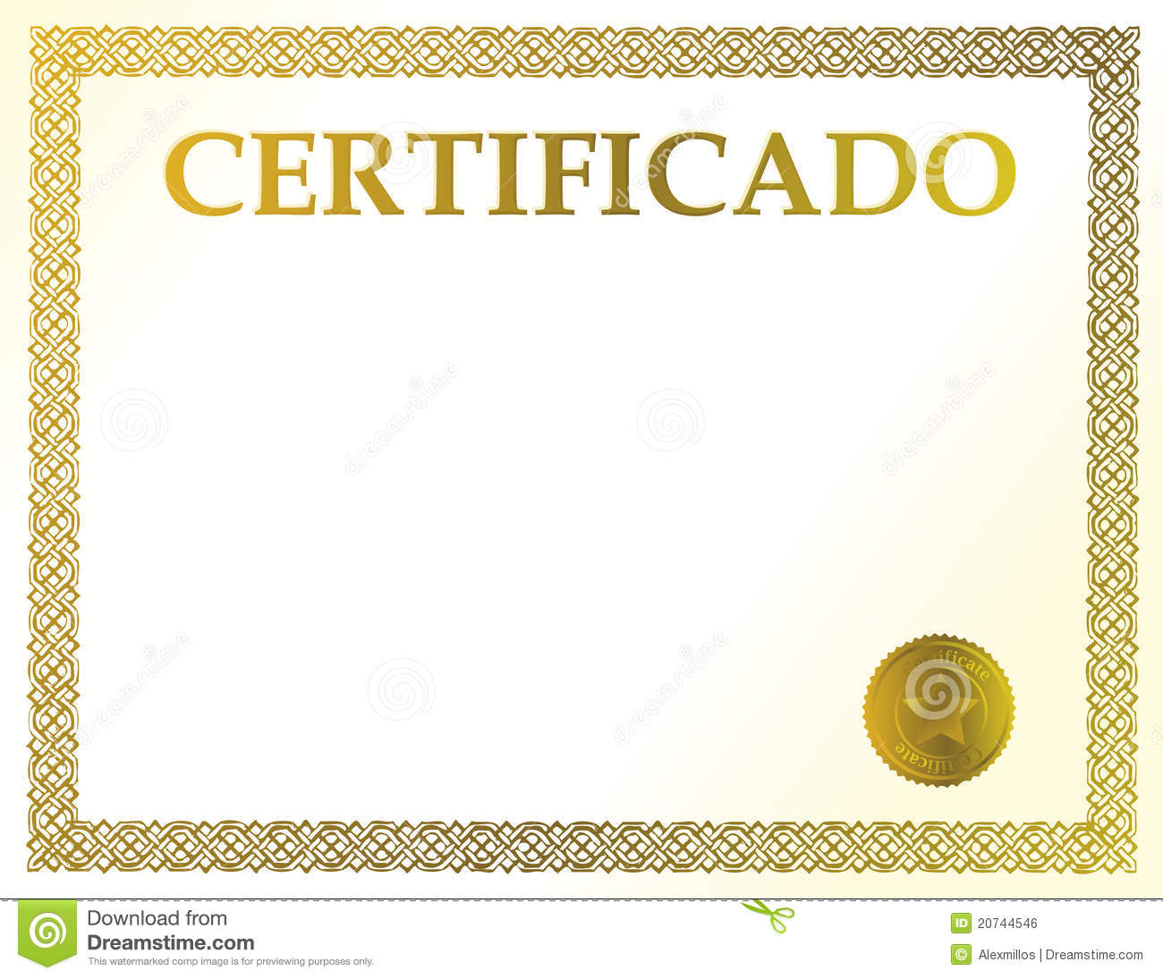 spanish blank certificate stock vector illustration of spanish