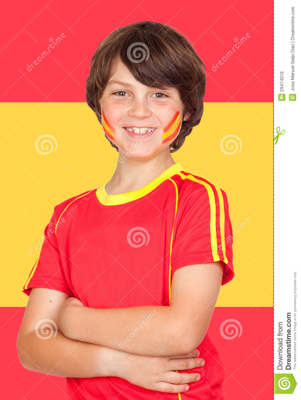 spanish boy with t shirt team and spain flag royalty free stock images   image 29474019