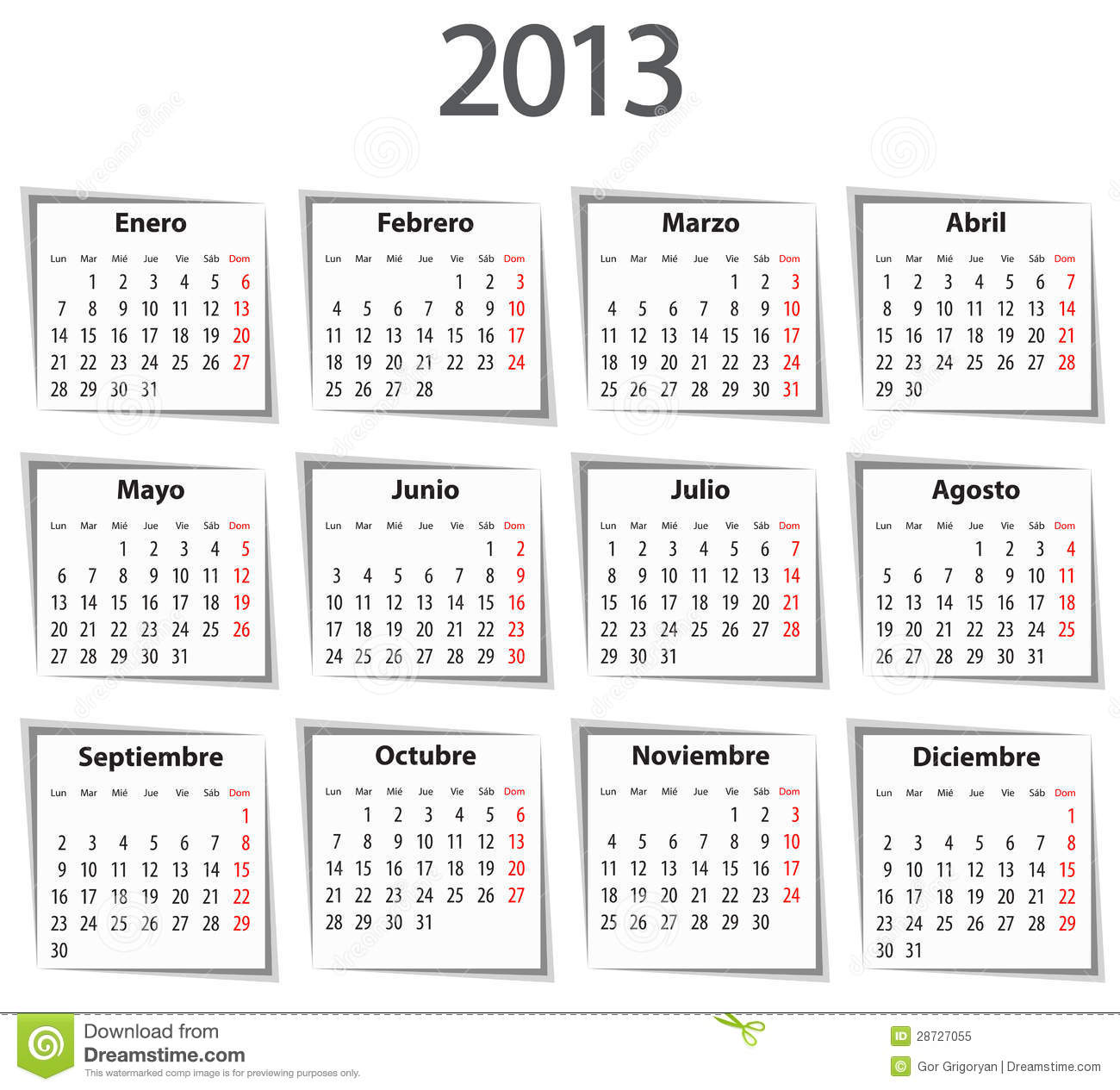 2013 Spanish Calendar Template Royalty Free Cliparts Vectors And