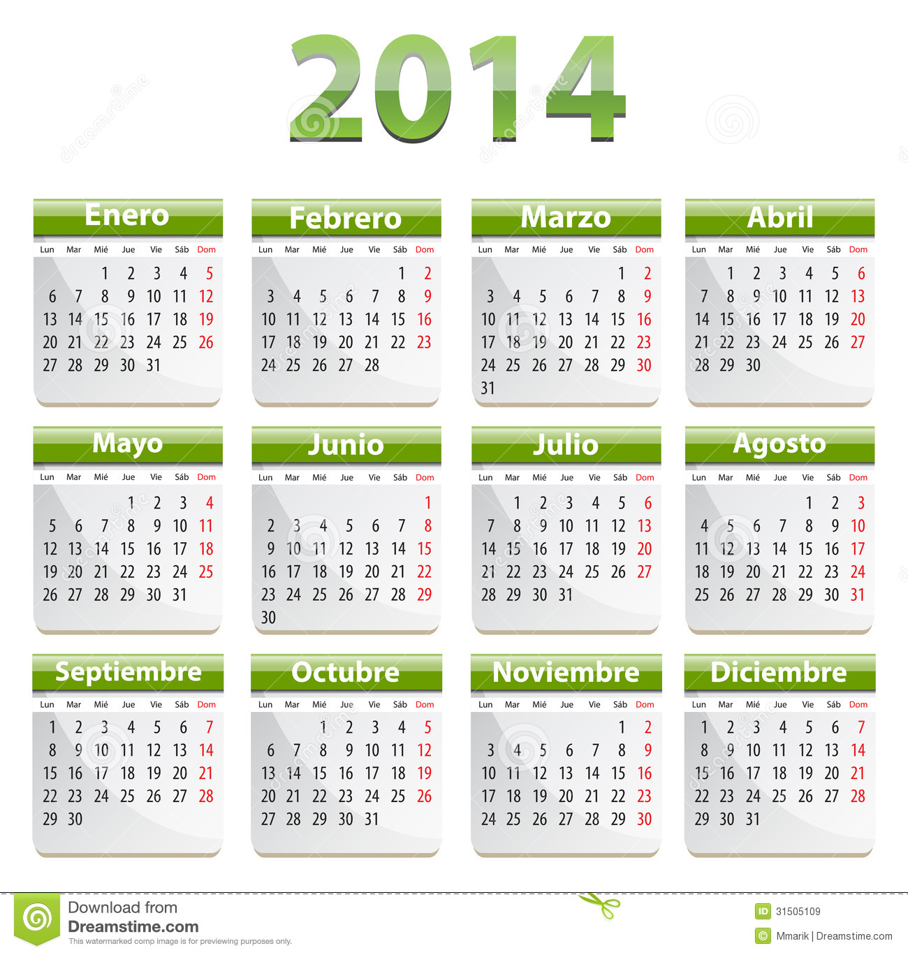 Calendar Illustration Vector : Spanish calendar stock vector image of business