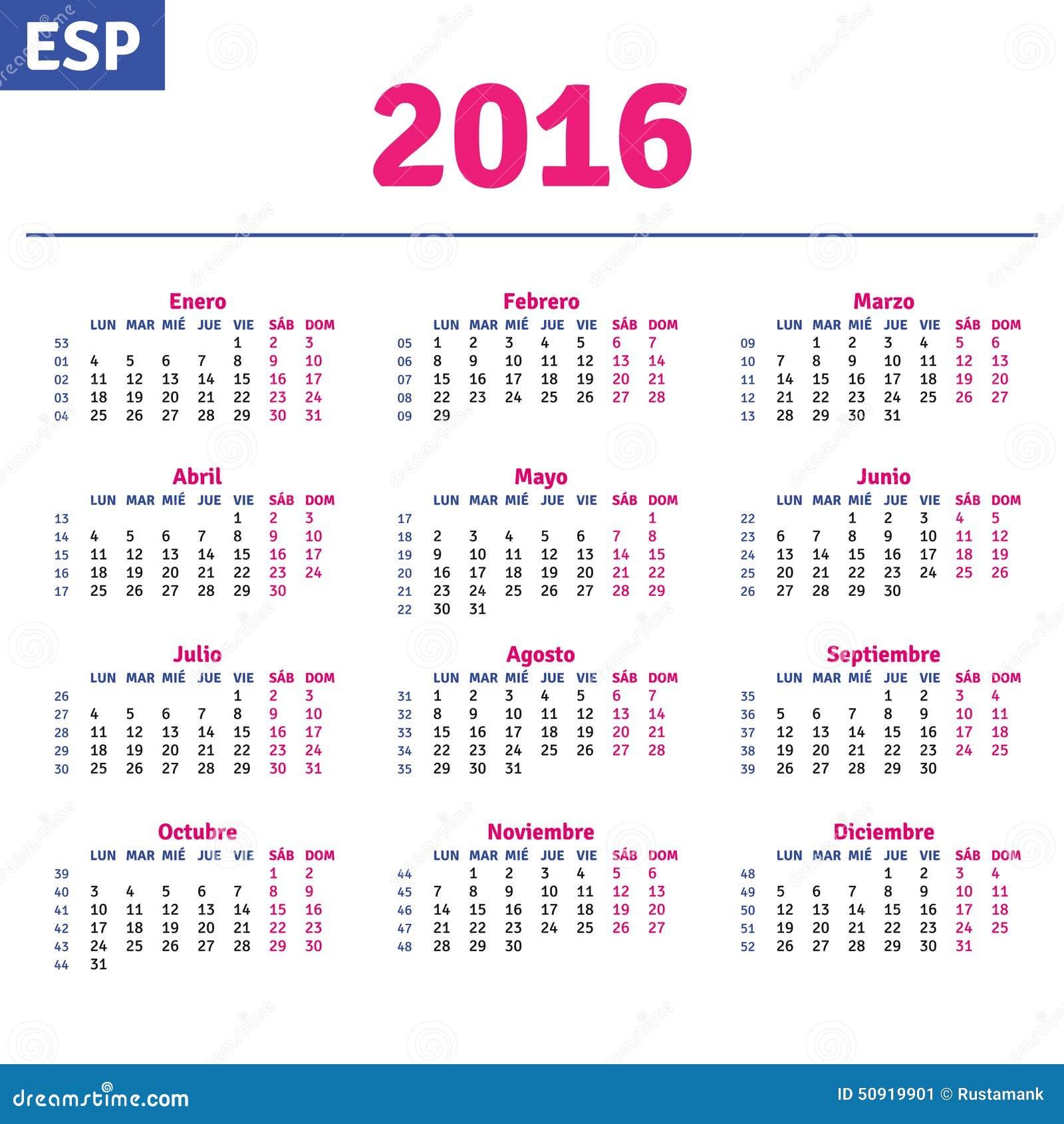 Spanish calendar 2016, horizontal calendar grid, vector.