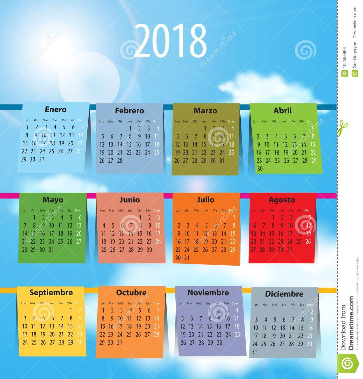 spanish calendar for 2018 like laundry on the clothesline stock