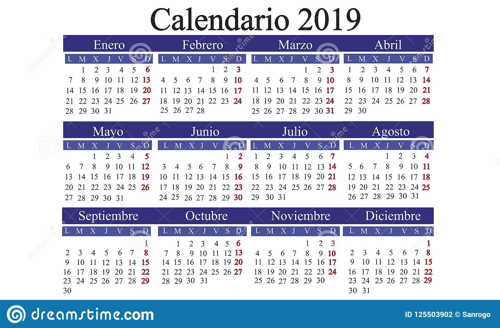 download spanish calendar 2019 calendar new year calendar year 2019 ca stock illustration