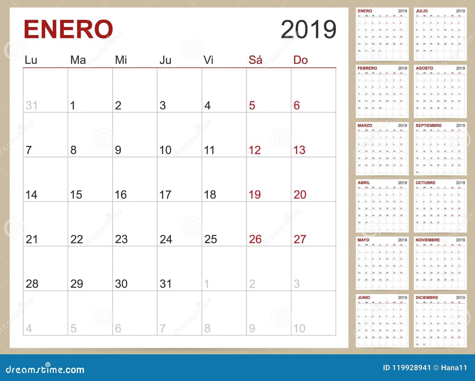 Spanish Calendar 2019 Stock Vector Illustration Of Diary 119928941