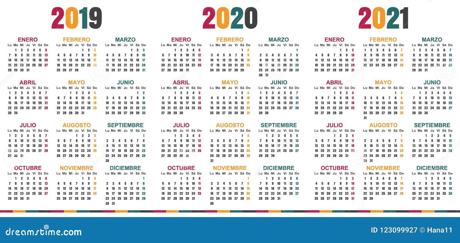 Spanish Calendar 2019 2021 Stock Vector Illustration Of 2021