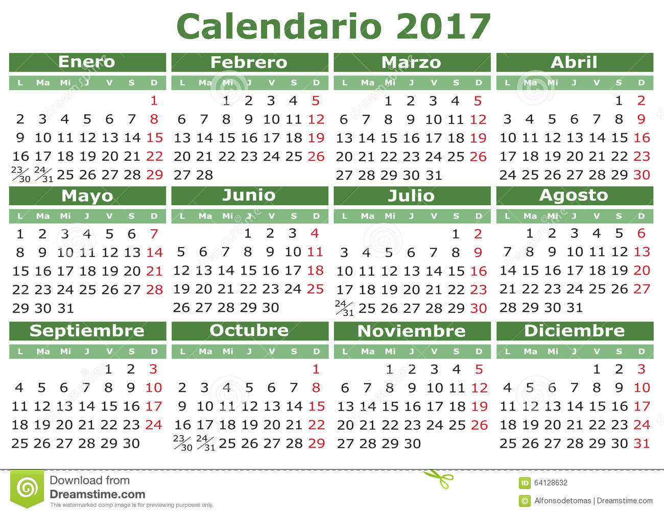 Spanish Calendar 2017 stock vector. Illustration of thursday - 64128632