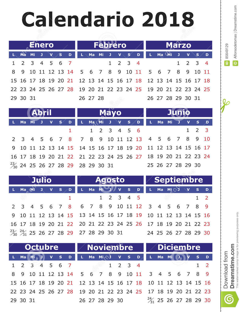 download spanish calendar 2018 stock vector illustration of january 85649129