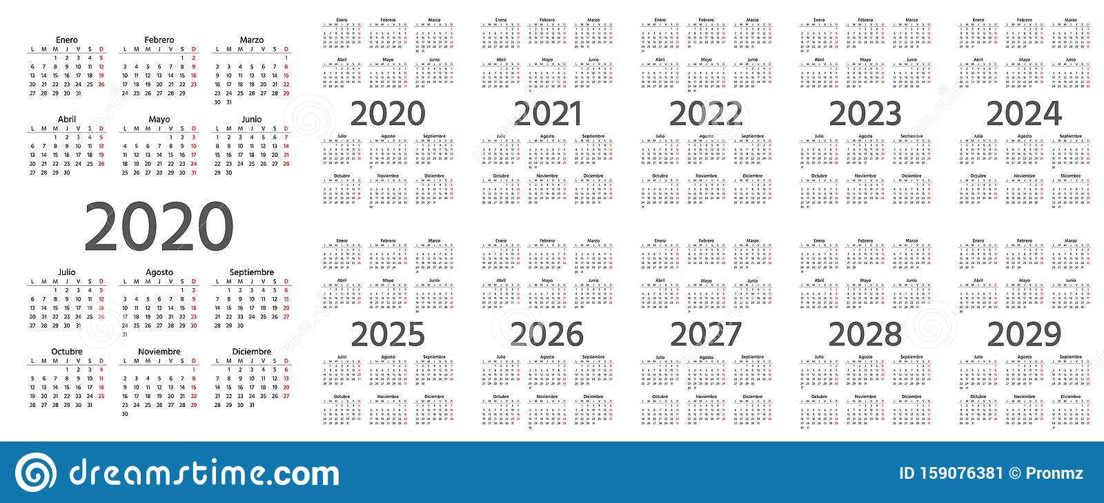 2020 Spanish Calendar. Vector Illustration. Template Year ...