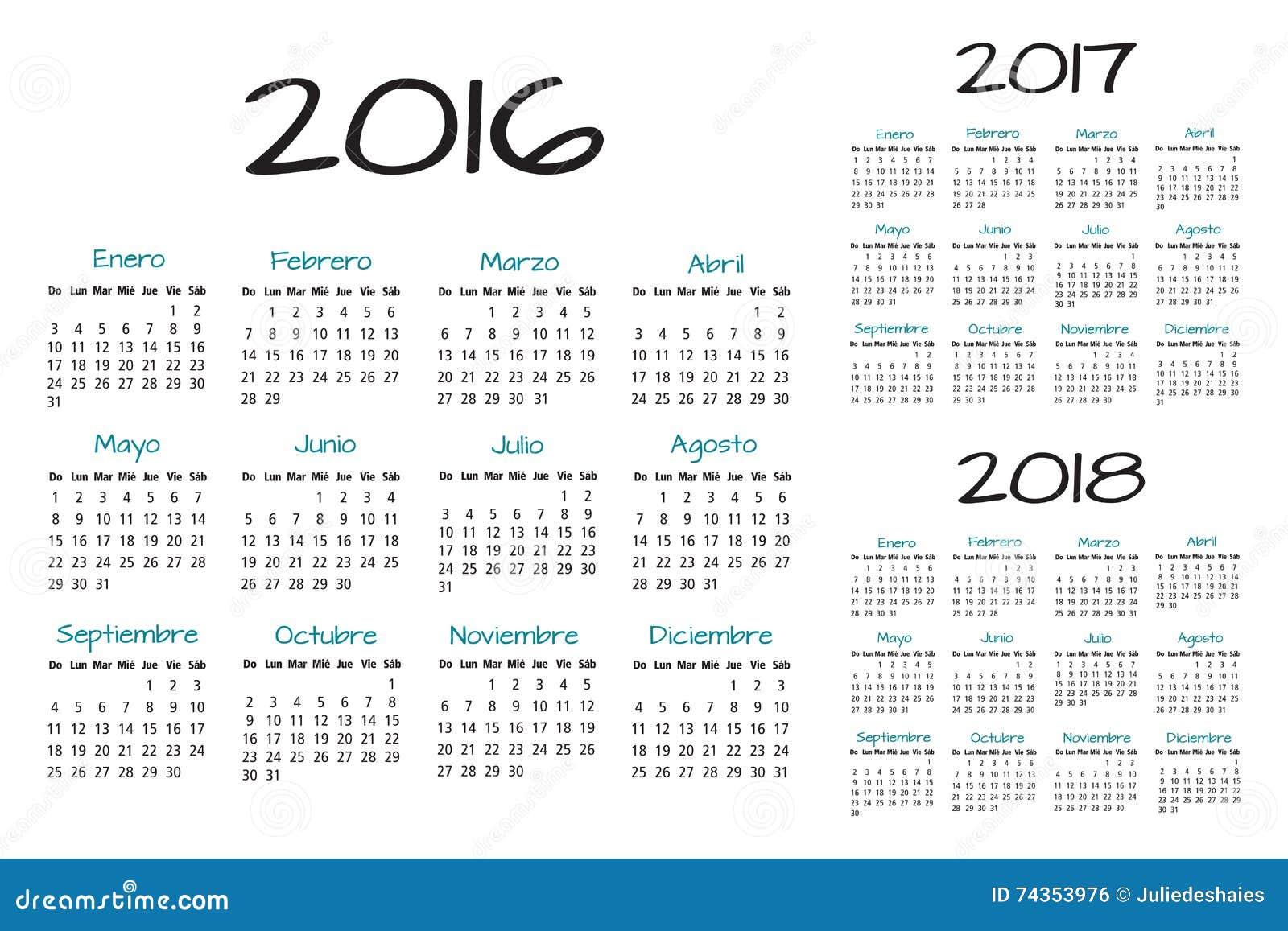spanish calendar 2016 2017 2018 vector