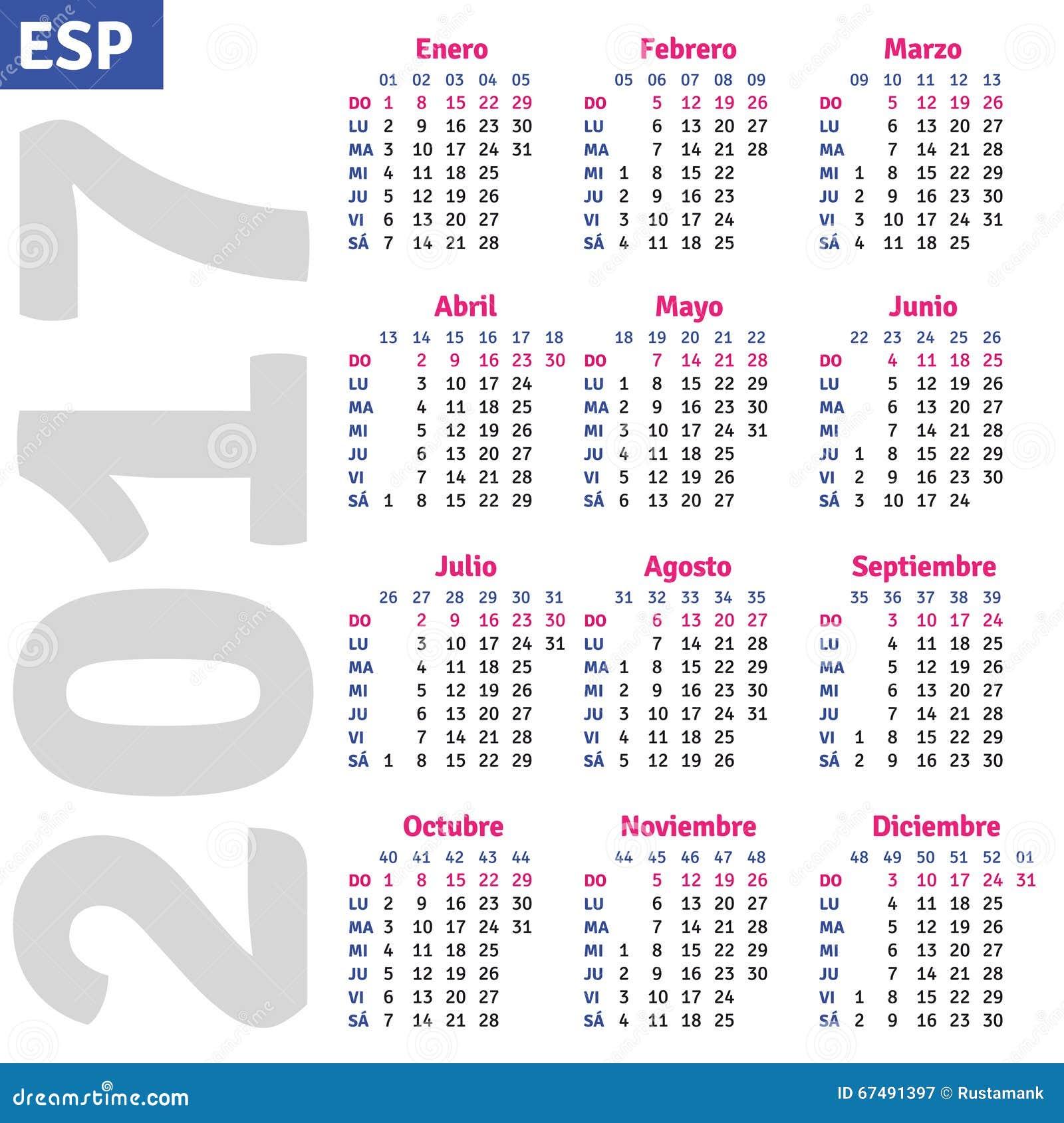 October 2017 Spanish Calendar Template | Calendar ...