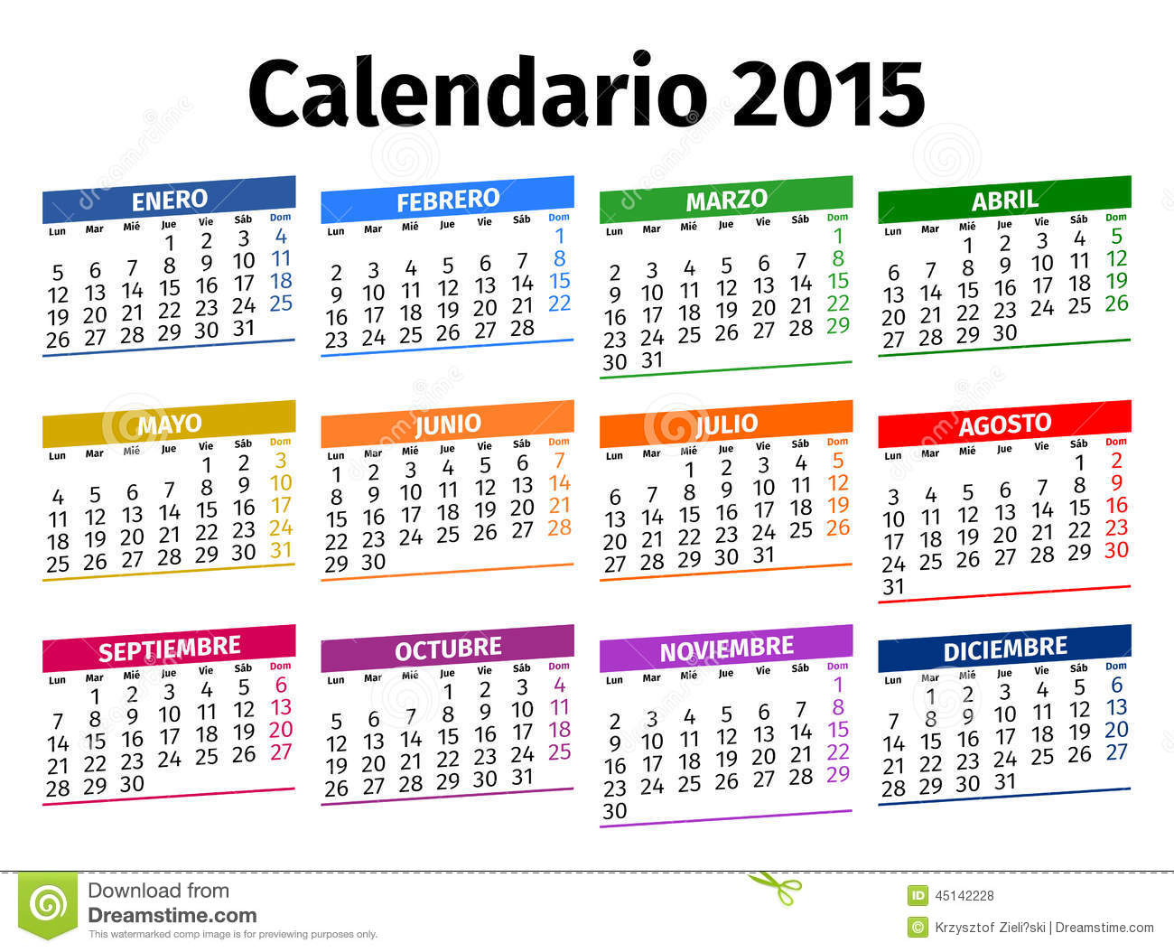 Spanish Calendar 2015 Stock Photo - Image: 45142228