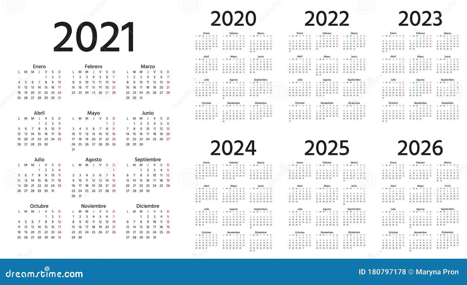Spanish Calendar 2021 2022 2023 2024 2025 2026 2020 Years ...