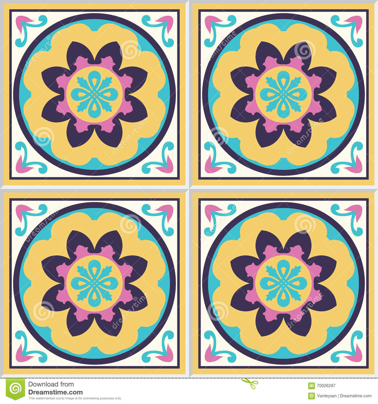 Spanish Ceramic Tiles With Floral Pattern Stock Vector