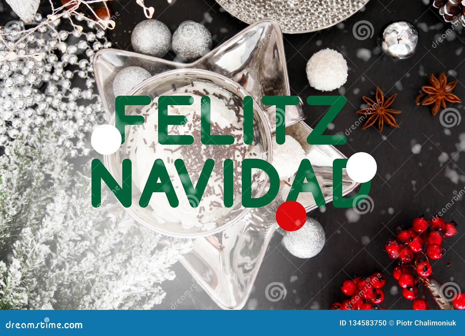 Merry Christmas In Spanish.Spanish Christmas Card Felitz Navidad Spain Table Snow