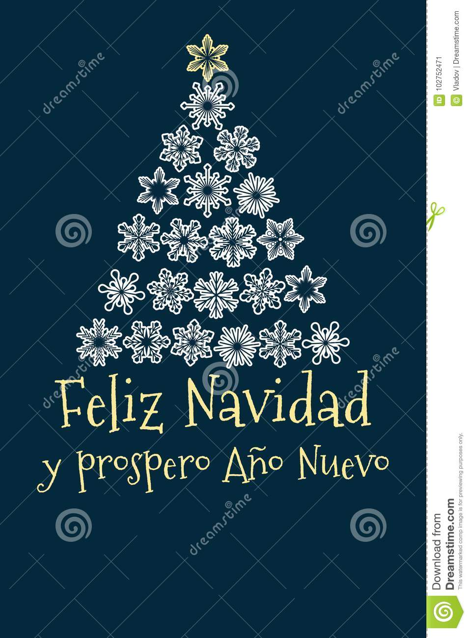 Spanish Christmas And New Year Greeting Card Stock Vector ...