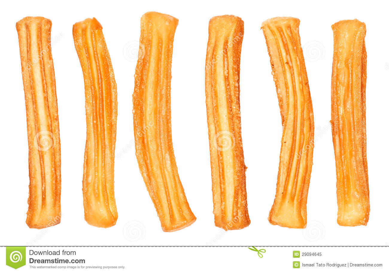 Different Spanish churros, typical sweet food of Spain. Isolated on ...
