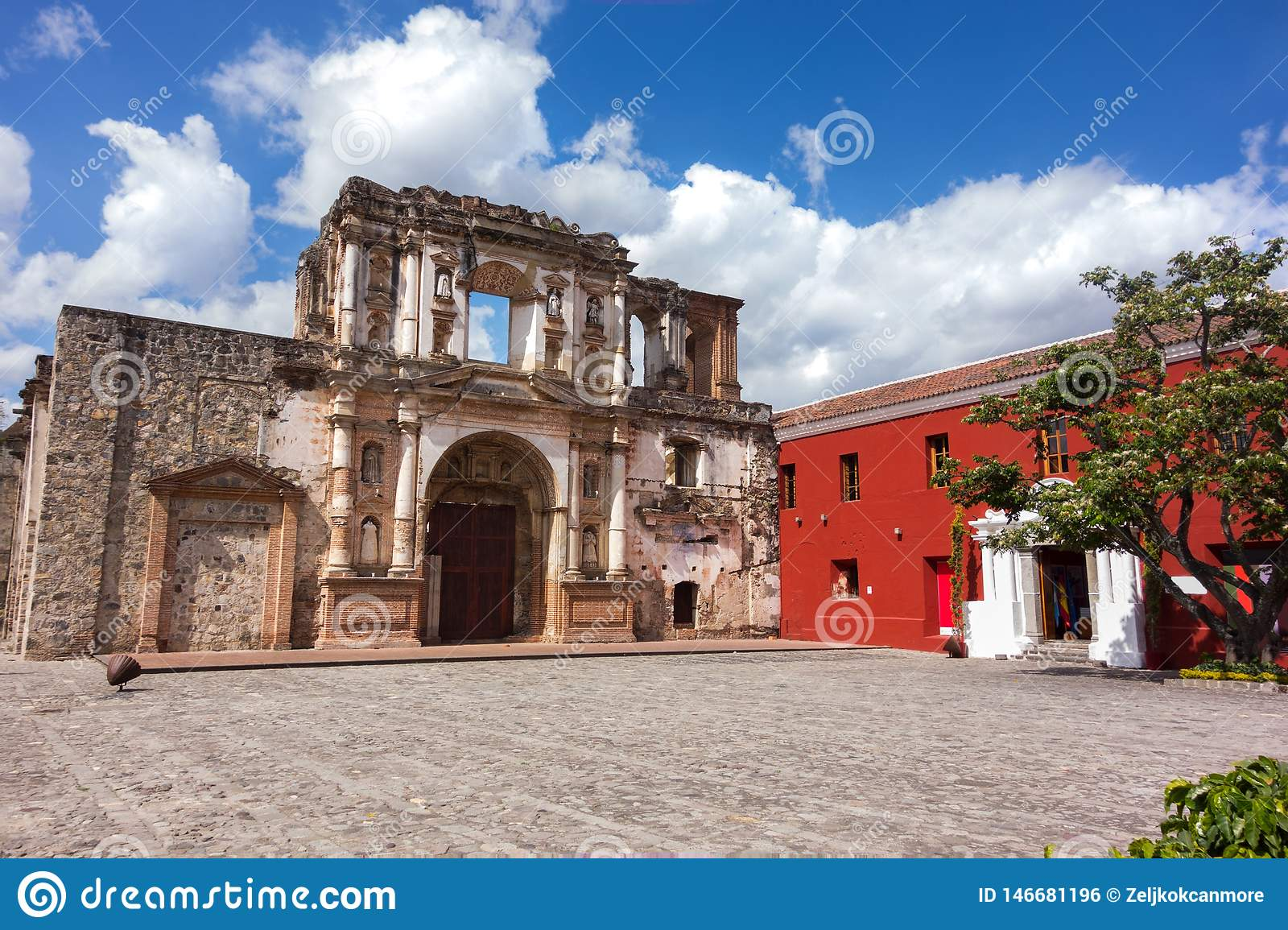 Ibero-American Center Spanish Cooperation and Colonial Style Building Ruin Old City Antigua Guatemala