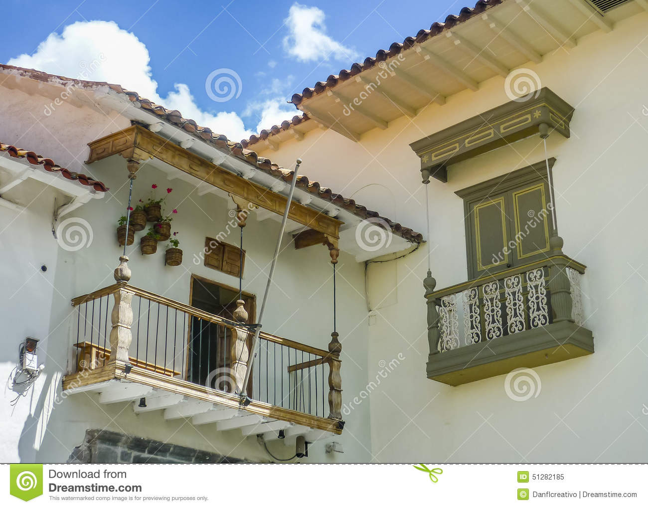 Spanish colonial style balconies stock image image of for Balcony in spanish