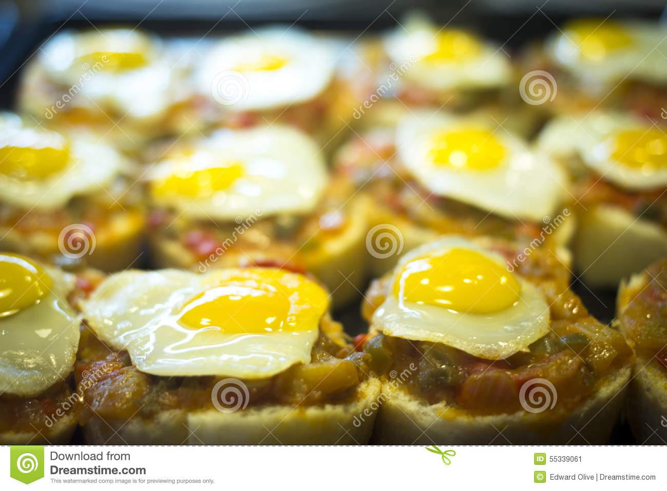 Spanish cuisine egg tapas dishes in restaurant stock photo for Andalusia cuisine