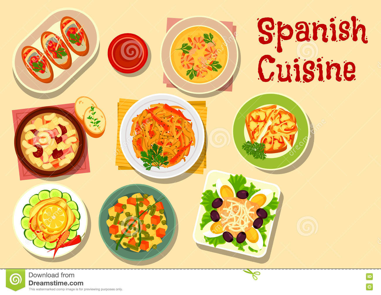 Spanish cuisine lunch icon for food design stock vector for Cuisine in spanish